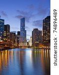 Chicago Skyline At Dusk  With...