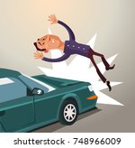 drunk driver hit man by car.... | Shutterstock .eps vector #748966009