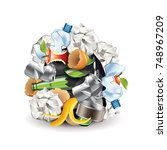 waste sphere isolated on white... | Shutterstock .eps vector #748967209