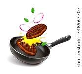 frying steaks on pan isolated... | Shutterstock .eps vector #748967707
