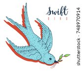 swift bird vector hand drawn...   Shutterstock .eps vector #748970914