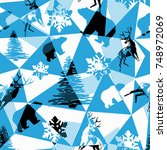 seamless abstract winter... | Shutterstock .eps vector #748972069