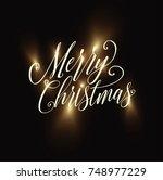 merry christmas 2018. christmas ... | Shutterstock .eps vector #748977229