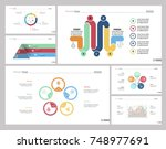 six startup slide templates set | Shutterstock .eps vector #748977691