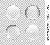 transparent glass sphere set... | Shutterstock .eps vector #748982287