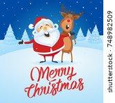 santa claus and reindeer... | Shutterstock .eps vector #748982509