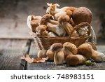 mushroom boletus over wooden...   Shutterstock . vector #748983151