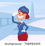 happy smiling stewardess woman... | Shutterstock .eps vector #748983445