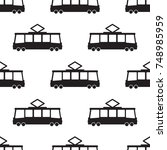 tram pattern repeat seamless in ... | Shutterstock .eps vector #748985959