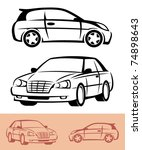 styled car icons | Shutterstock .eps vector #74898643