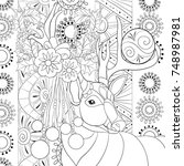 adult coloring page book a cute ... | Shutterstock .eps vector #748987981