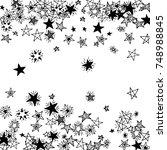 falling doodle stars. simple... | Shutterstock .eps vector #748988845