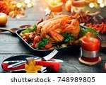thanksgiving dinner ... | Shutterstock . vector #748989805