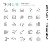 collection of real estate thin... | Shutterstock .eps vector #748991305