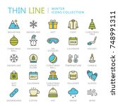 collection of winter thin line... | Shutterstock .eps vector #748991311