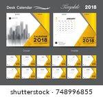 set desk calendar 2018 template ... | Shutterstock .eps vector #748996855