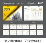 set desk calendar 2018 template ... | Shutterstock .eps vector #748996867