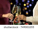 christmas party group of friend ... | Shutterstock . vector #749001055