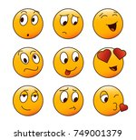 9 cartoon emoticon characters... | Shutterstock .eps vector #749001379
