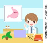 doctor with stomach on the blue ... | Shutterstock .eps vector #749004481