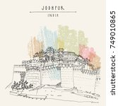 mehrangarh fort  sun fortress ... | Shutterstock .eps vector #749010865