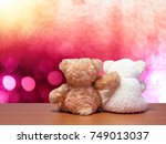 two bears sit behind a... | Shutterstock . vector #749013037