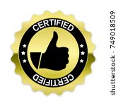 gold certified badge with thumb ... | Shutterstock .eps vector #749018509