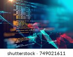 programming code abstract... | Shutterstock . vector #749021611