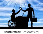 worker man disabled in a... | Shutterstock . vector #749024974