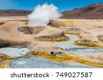 the volcanic activity of sol de ... | Shutterstock . vector #749027587