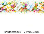 a line of holiday gifts large... | Shutterstock . vector #749032201