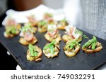 food snacks and appetizers | Shutterstock . vector #749032291