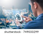 the abstract image of business... | Shutterstock . vector #749033299
