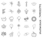 tree leaf icons set. outline... | Shutterstock .eps vector #749033791
