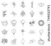 tree leaf icons set. outline... | Shutterstock .eps vector #749033791