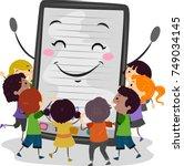illustration of an ebook mascot ... | Shutterstock .eps vector #749034145