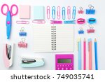 stationary concept  flat lay...   Shutterstock . vector #749035741