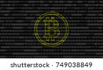 gold bitcoin created by binary... | Shutterstock .eps vector #749038849