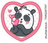 cute panda character in love...   Shutterstock .eps vector #749039797