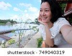 selfie asian woman  self...   Shutterstock . vector #749040319