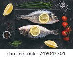 fresh sea beam or dorado fish ... | Shutterstock . vector #749042701