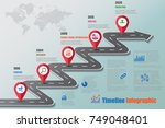 business road map timeline... | Shutterstock .eps vector #749048401