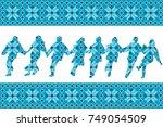 blue ethnic motifs background... | Shutterstock .eps vector #749054509