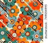 grunge vintage floral seamless... | Shutterstock .eps vector #749054995