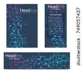 set flyer  brochure size a4... | Shutterstock .eps vector #749057437