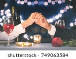 romantic date  candle light... | Shutterstock . vector #749063584