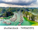 floating fishing village and... | Shutterstock . vector #749065591