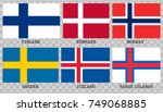 simple flags of scandinavia... | Shutterstock .eps vector #749068885