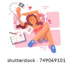 young girl lies and listen to... | Shutterstock .eps vector #749069101
