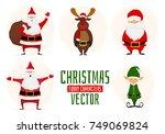 collection cartoon santa claus  ... | Shutterstock .eps vector #749069824